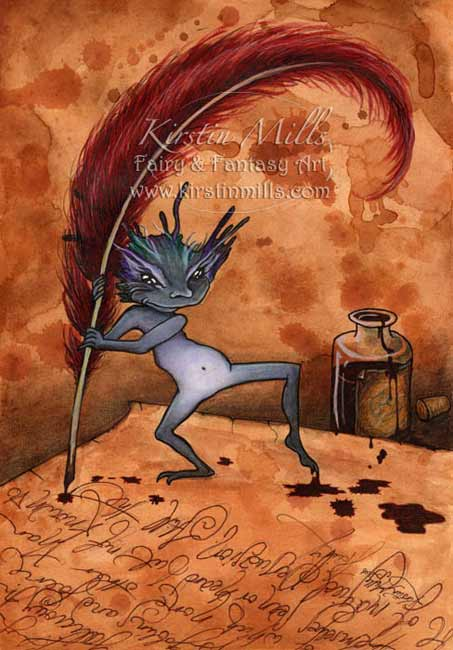 Quink the Ink Fairy Art by Kirstin Mills, Fairy Tales, Fairies and Fantasy Art and Illustration