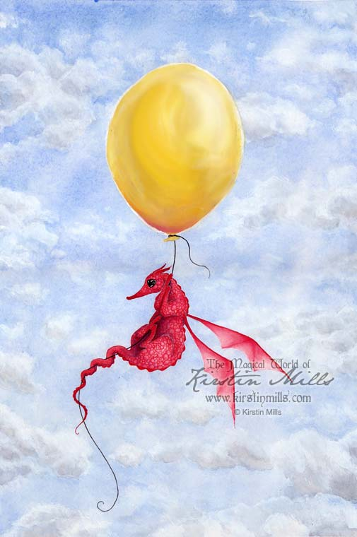 Up in the Air Dragon Art by Kirstin Mills, Fairy Tales, Fairies and Fantasy Art and Illustration