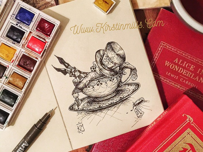 alice in wonderland, lewis carroll, mad hatter, hatter, mad hatter day, inktober, illustration, art, artwork, pen, ink, drawing, Kirstin Mills, fantasy, tea