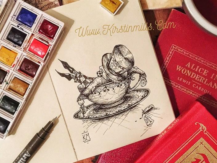 alice in wonderland, lewis carroll, mad hatter, hatter, mad hatter day, inktober, illustration, art, artwork, pen, ink, drawing, Kirstin Mills, fantasy, tea