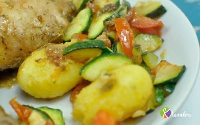 Régalez-vous avec notre poêlée de légumes pommes de terre courgette tomates