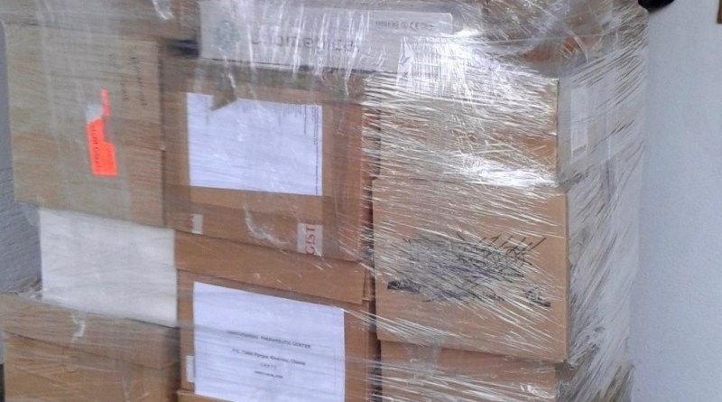 Medical supplies prepared for transport to Crete