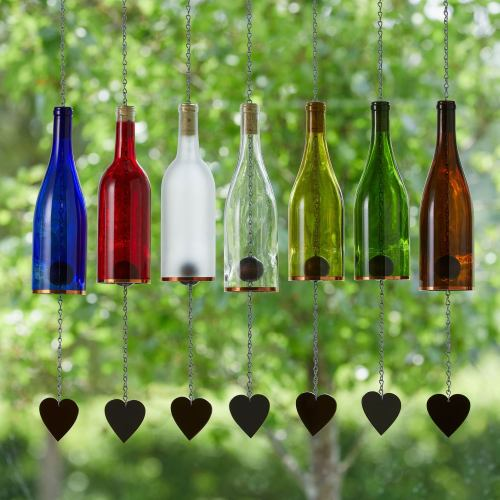 Wind Chimes Glass Wine DIY Gardening Decor