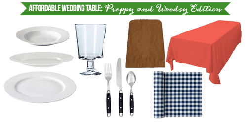 Affordable Wedding Table: Preppy and Woodsy Edition