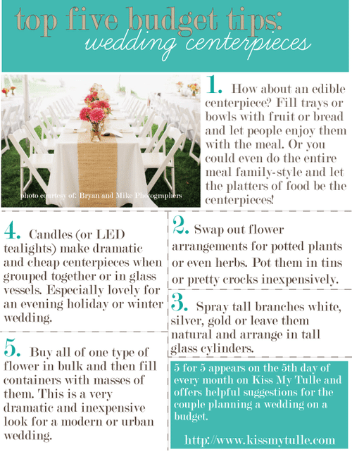 Top Five Budget Tips for theWedding Centerpieces