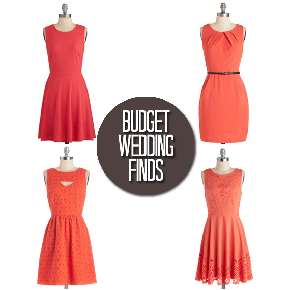 Budget Wedding Finds: Orange Bridesmaid Dresses
