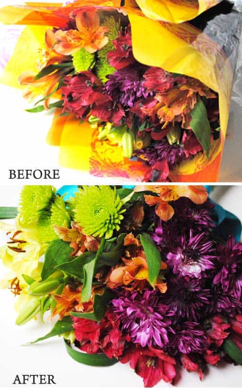How to Make an Ugly Supermarket Arrangement into a Lovely Wedding Bouquet Before and After
