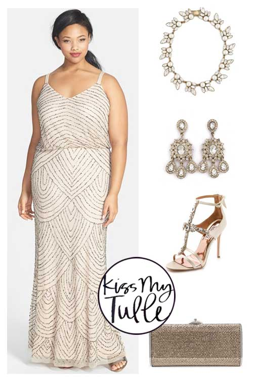 Styling the Adrianna Papell Blouson Gown Glam and luxe
