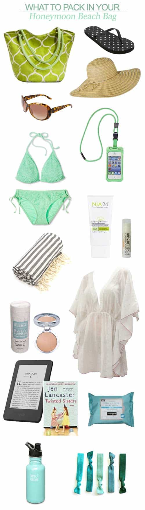 Here's my suggestions for what to pack in your honeymoon beach bag:
