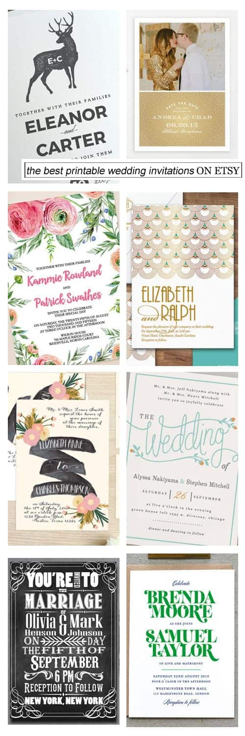 The Best Printable Wedding Invitations on Etsy Kiss My Tulle