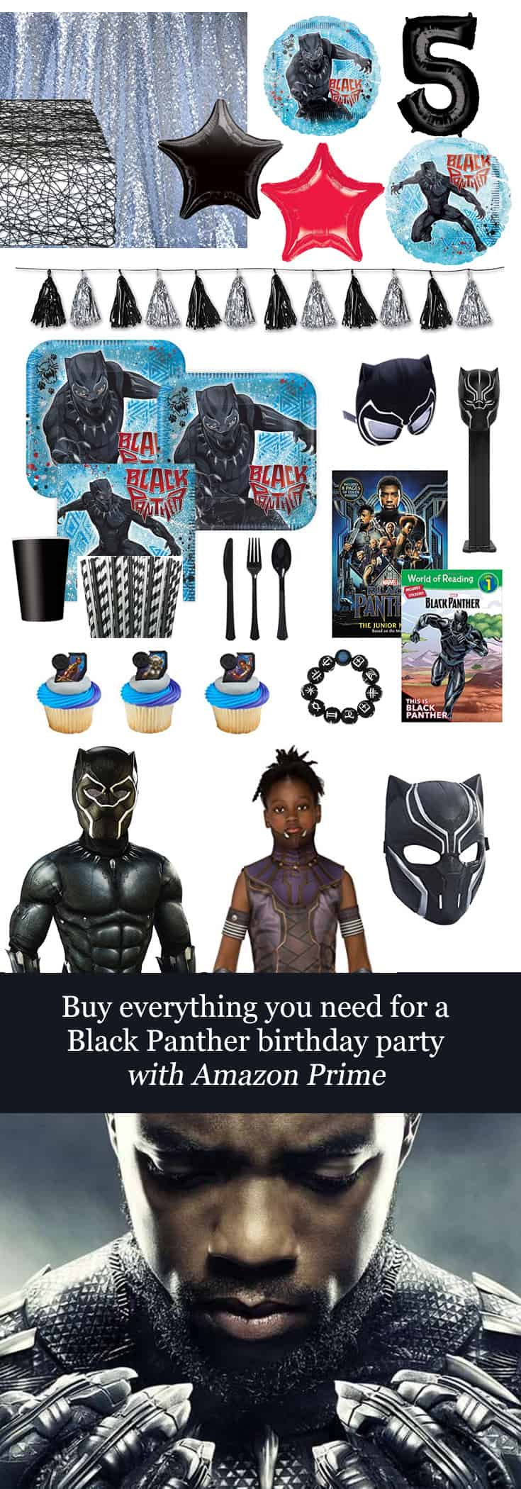 Buy Everything you Need for a #BlackPanther Birthday Party with #Amazon Prime #DSMMC #Disney #Marvel #Avengers #Shuri #TChalla #Wakanda
