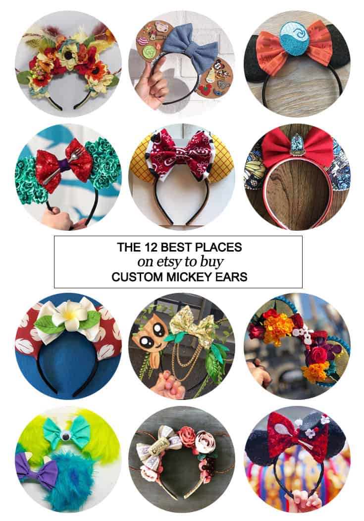 Want to snag some of your own custom ears? Here's the 12 best places on etsy to buy custom Mickey ears! #etsy #fashion #Disney #dsmmc #tmom #Disneyland #WaltDisneyWorld #Mickeyears #handmade