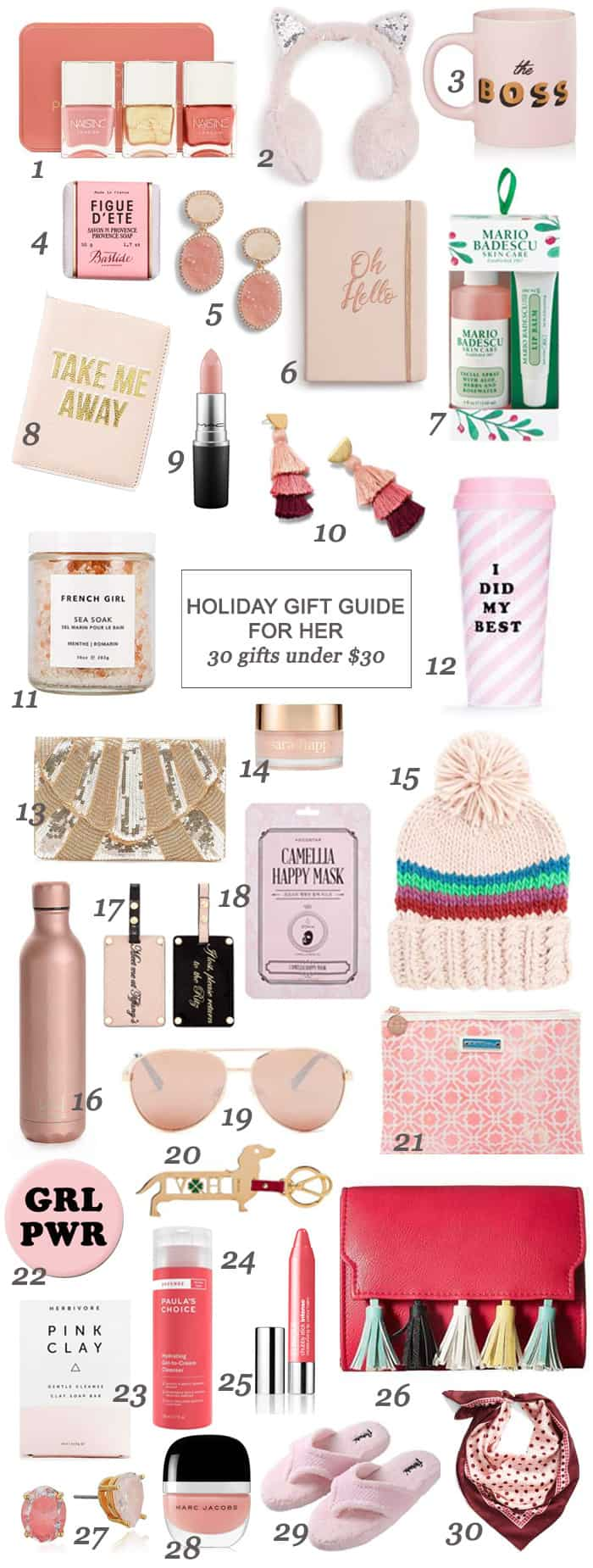 Holiday Gift Guide For Her: 30 Gifts Under $30 #Christmas #forher #woman #rosegold #holidays #shopping