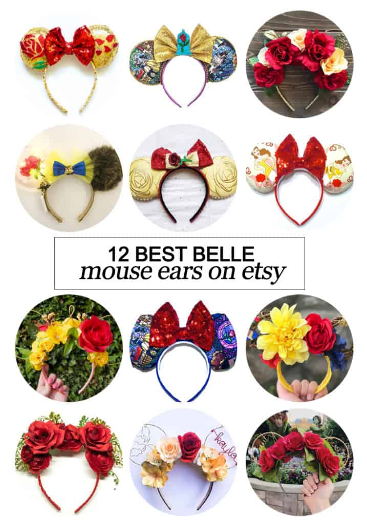 Want to snag some of your own custom ears? Here's the 12 best #Belle inspired Mouse ears on #etsy! #fashion #Disney #dsmmc #tmom #Disneyland #WaltDisneyWorld #Mouseears #handmade