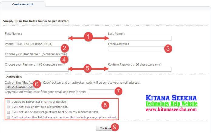 Bidversist fill Application form