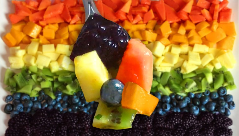 KitchAnnette Rainbow Fruit Salad Spoon