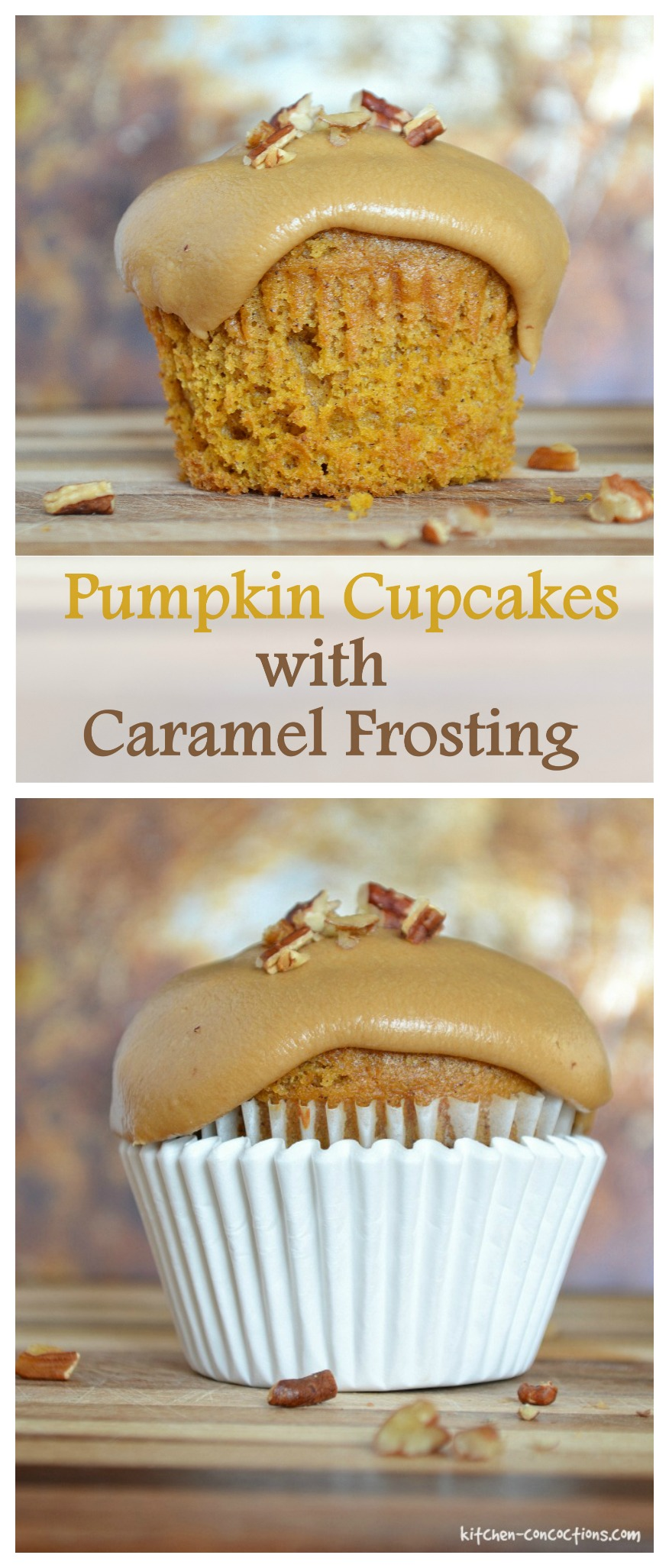 Pumpkin Cupcakes with Caramel Frosting