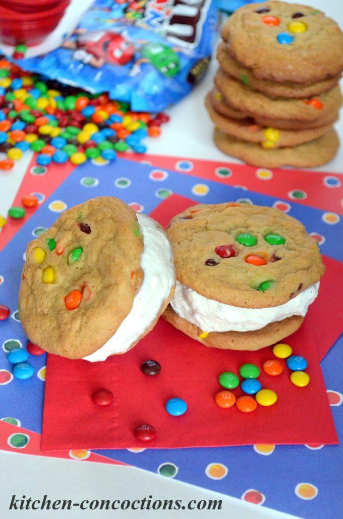 M&M's Cookie Ice Cream Sandwiches