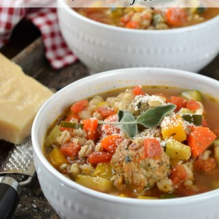 Vegetable Barley Soup with Chicken Sausage Meatballs