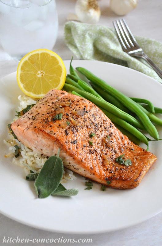 Pan Seared Salmon with Garlic Butter Sauce
