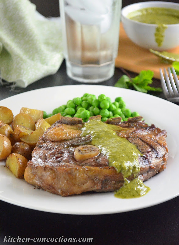 Grilled Lamb Shoulder Chops with Mint Chimichurri
