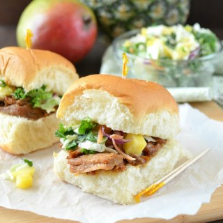 Slow Cooker Hawaiian Bar-B-Q Pulled Pork Sliders with Tropical Slaw