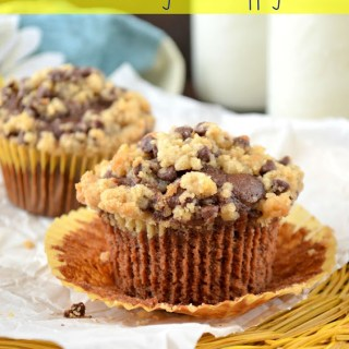 Chocolate Banana Muffins with Cookie Dough Streusel Topping