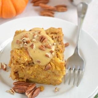 Pumpkin Bread Pudding with Pumpkin Creme Anglaise