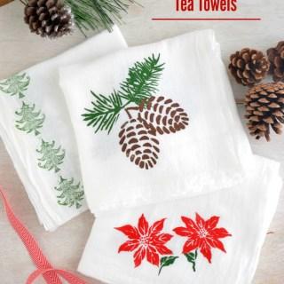 DIY Stenciled Holiday Tea Towels and Holiday Tea Gift Baskets