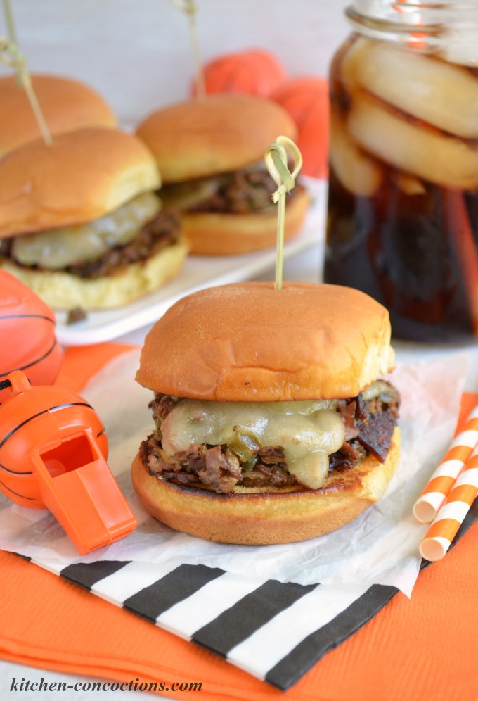 Kitchen Concoctions - Jalapeno Popper Cheesesteak Sliders Recipe: These spicy Jalapeno Popper Cheesesteak Sliders are a delicious mash up of two party favorites! They'll surely be a hit at your next sporting event or get together!