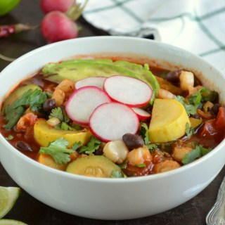 Vegetarian Red Pozole with Black Beans and Summer Squash {Plus How To Cut an Onion Without Crying}
