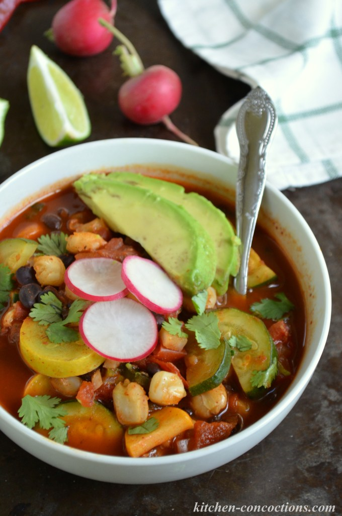 Vegetarian Red Pozole with Black Beans and Summer Squash