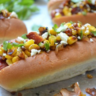 Spicy Grilled Hot Dogs with Bacon Corn Relish
