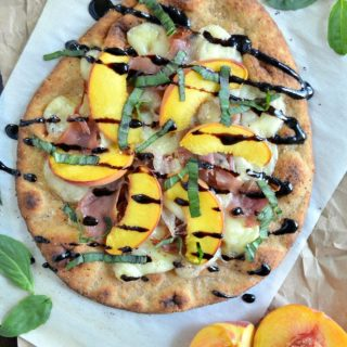 Peach, Prosciutto and Brie Flatbread Pizza