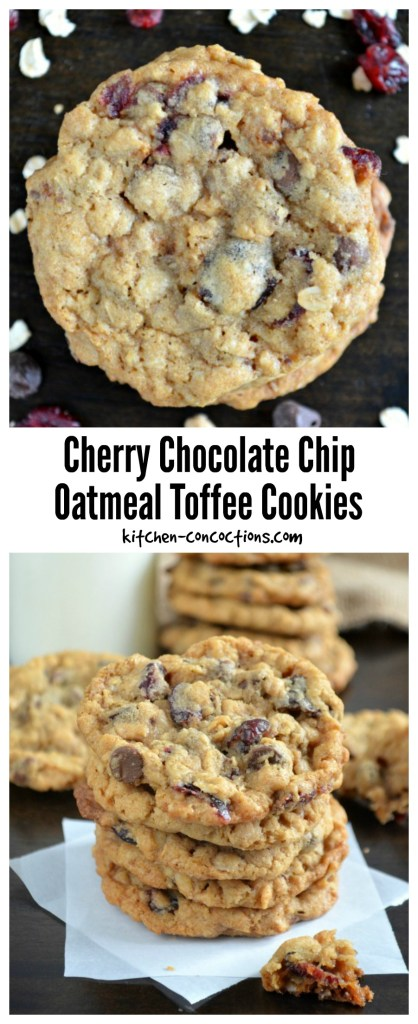 Cherry Chocolate Chip Oatmeal Toffee Cookies