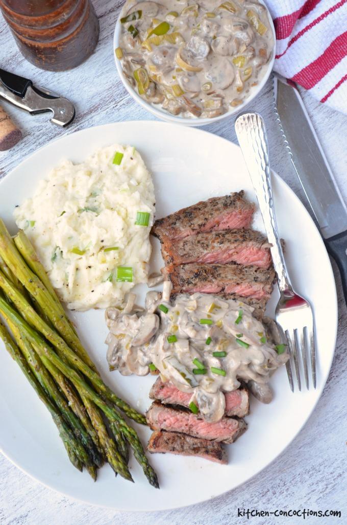New York Strip Steak with Creamy Mushroom Leek Sauce