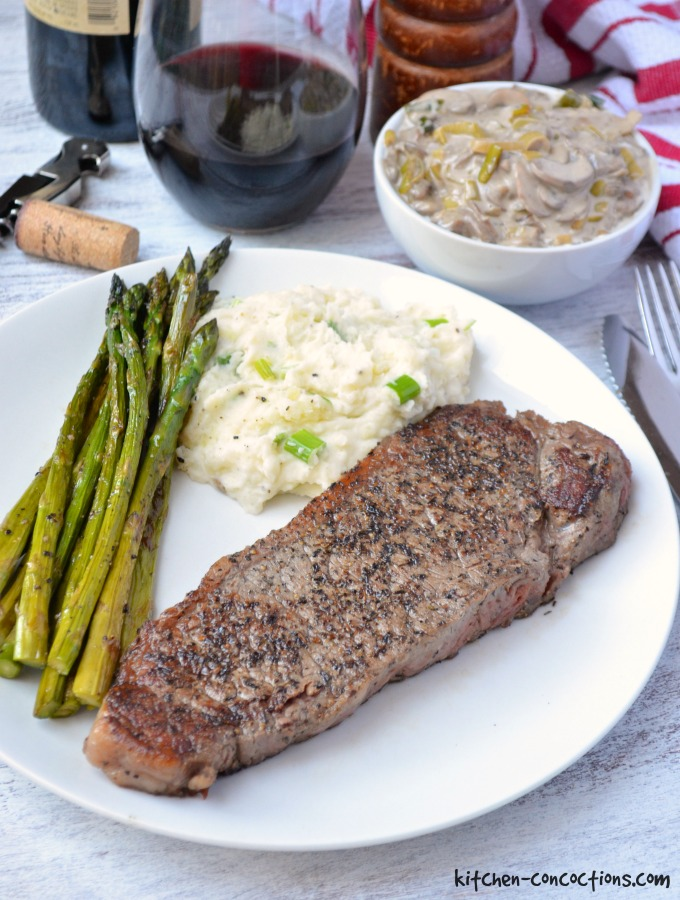 New York Strip Steak with Creamy Mushroom Leek Sauce