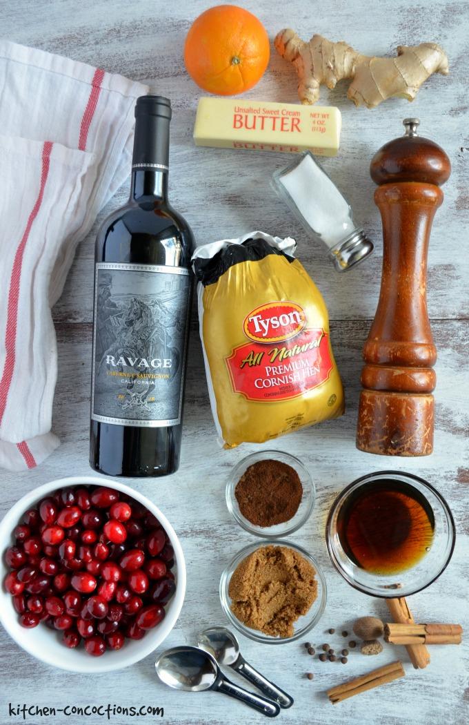 Spiced Red Wine Cranberry Glazed Cornish Hens