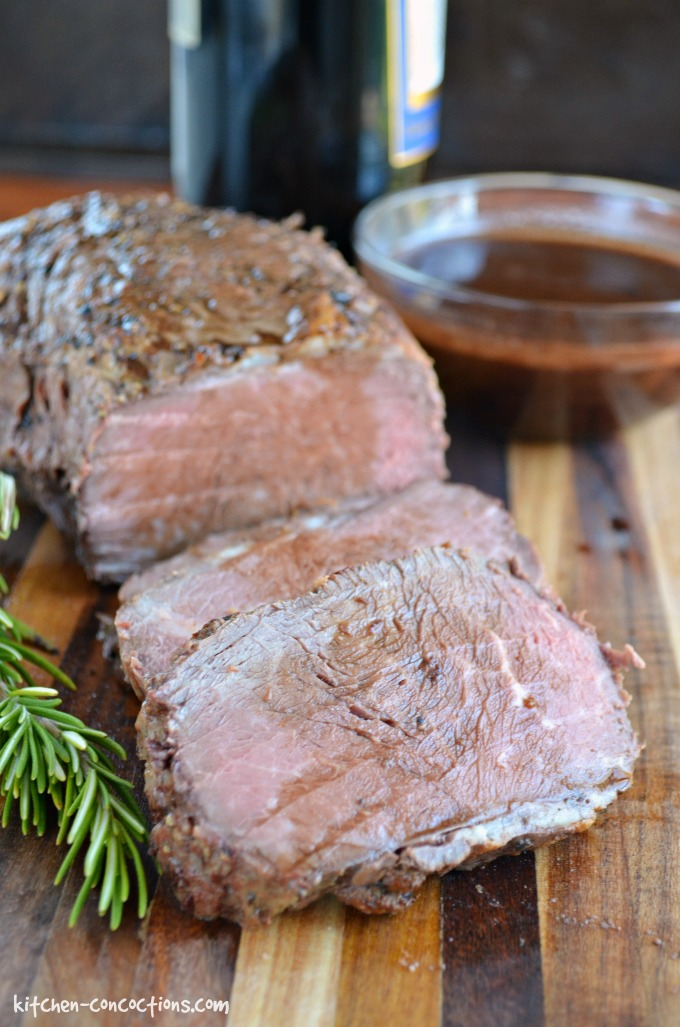 Roasted Beef Tenderloin with Red Wine Demi-Glace - This tender and juicy Roasted Beef Tenderloin with Red Wine Demi-Glace recipe is an easy yet elegant dinner recipe, perfect for holiday dinner parties or Christmas dinner.