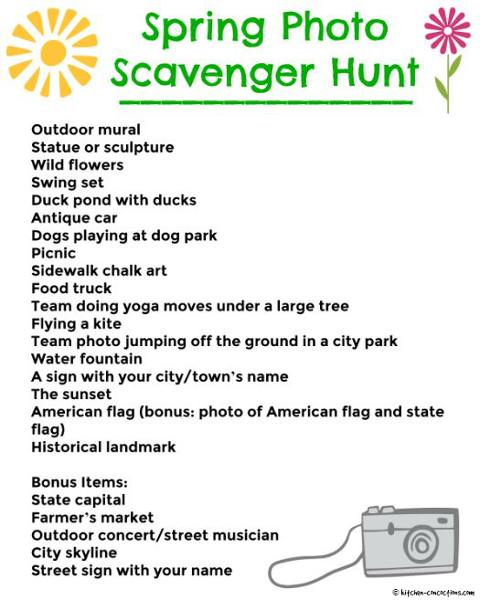 Spring Photo Scavenger Hunt printable - Kitchen Concoctions