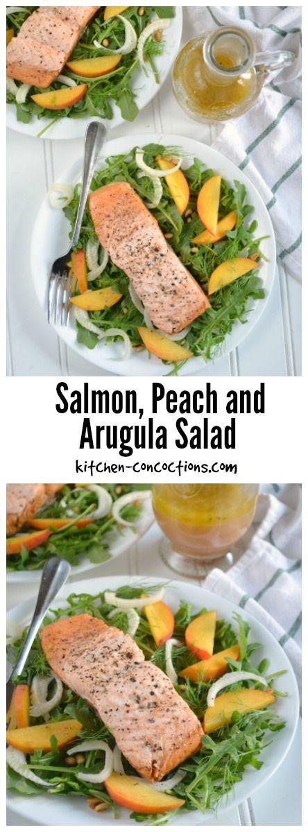 Salmon, Peach and Arugula Salad