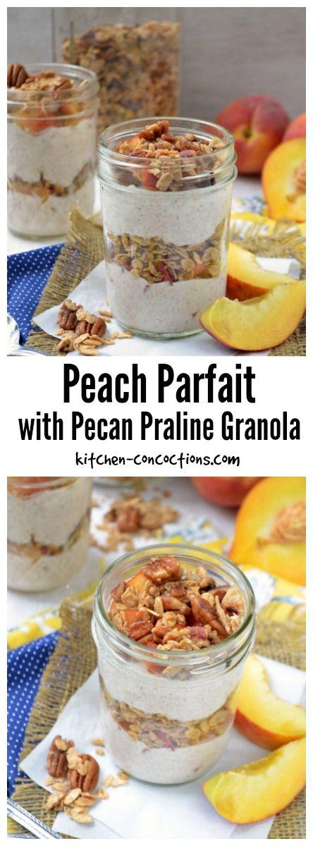 Peach Parfait with Pecan Praline Granola