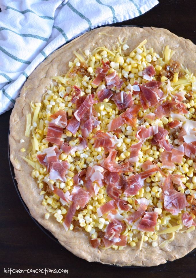 Corn, Prosciutto and Caramelized Onion Pizza