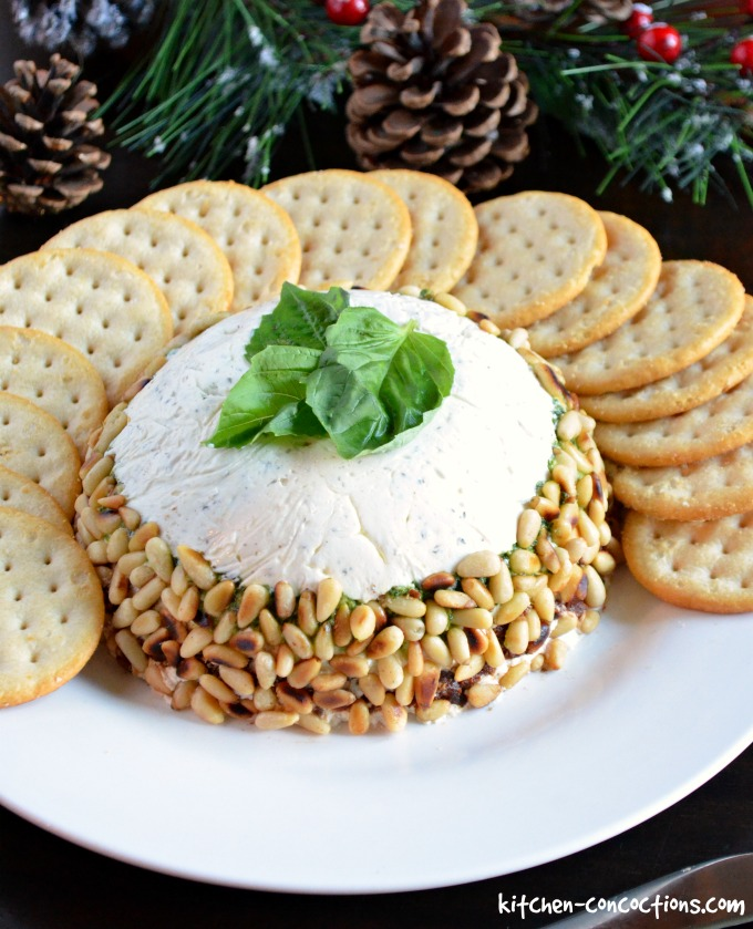 Pesto and Sun-Dried Tomato Cheese Torta (Holiday Cheese Ball)