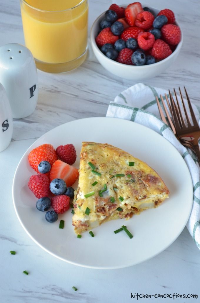 This easy, make ahead Caramelized Onion, Bacon and Potato Frittata recipe has layers of flavors and will be the star of your next weekend brunch!