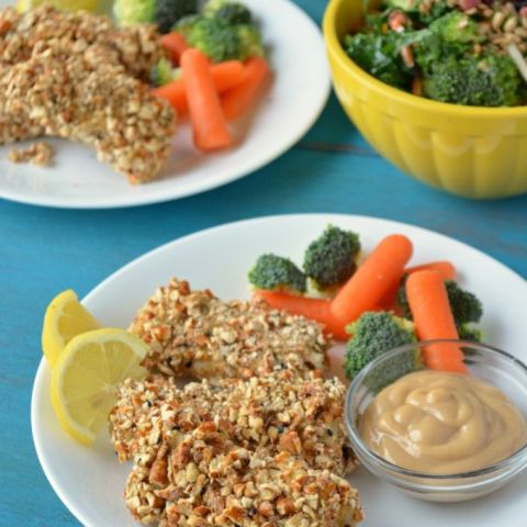 two plates of Pretzel Crusted Fish Sticks with a side of carrot sticks and broccoli, small bowl of honey mustard dipping sauce and a bowl of salad.