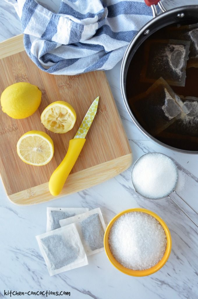 Ingredients for sweet tea brine.