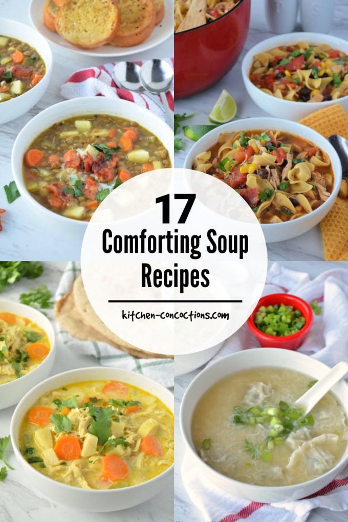 photo collage featuring 4 photos of different soups including apple bacon lentil soup, southwest chicken noodle soup, Chicken Mulligatawny Soup and Wonton Egg Drop Soup