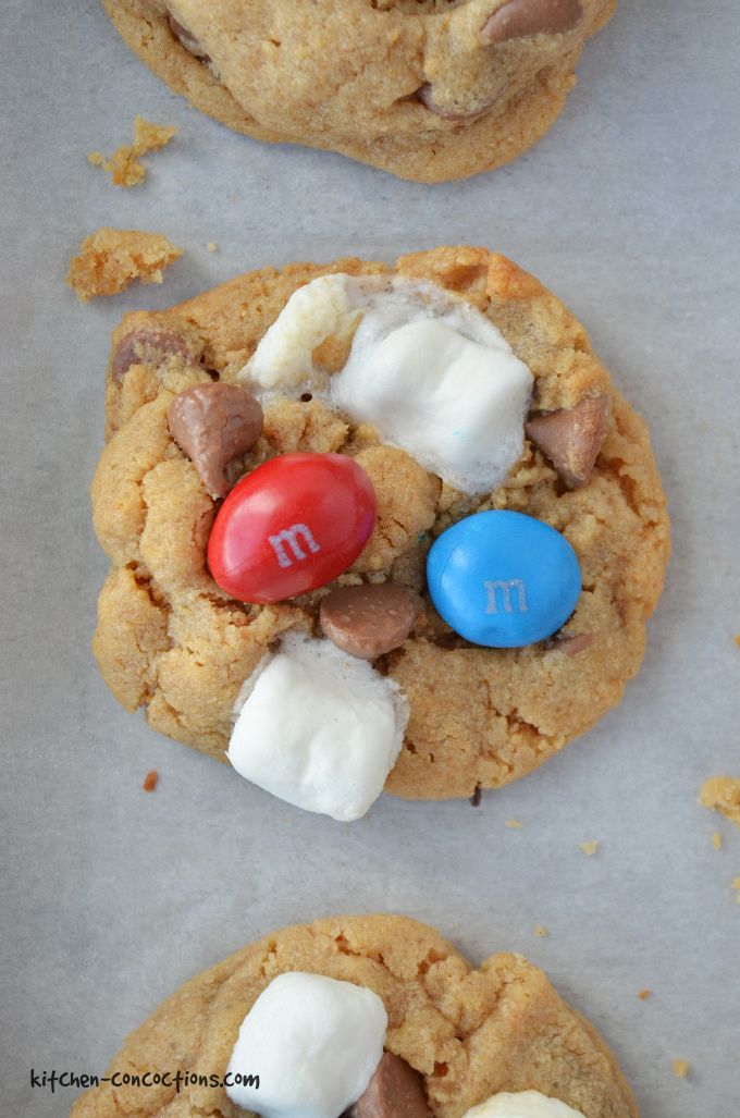 Close up photo of a Peanut Butter S'mores Cookie