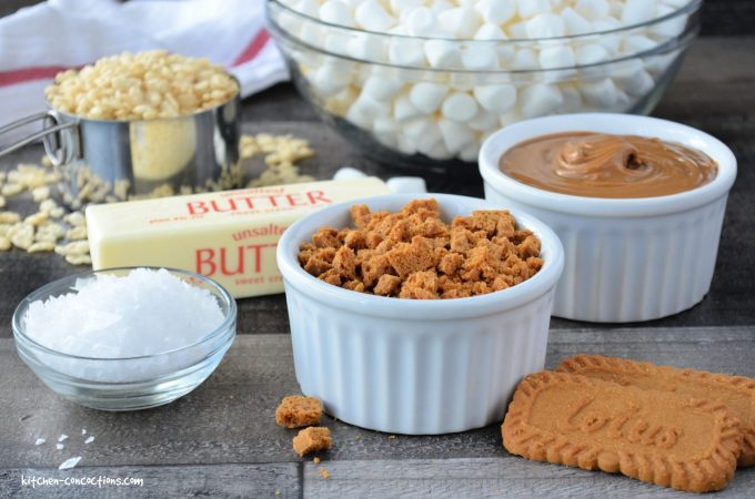 ingredients for Salted Brown Butter Biscoff Rice Krispie Treats